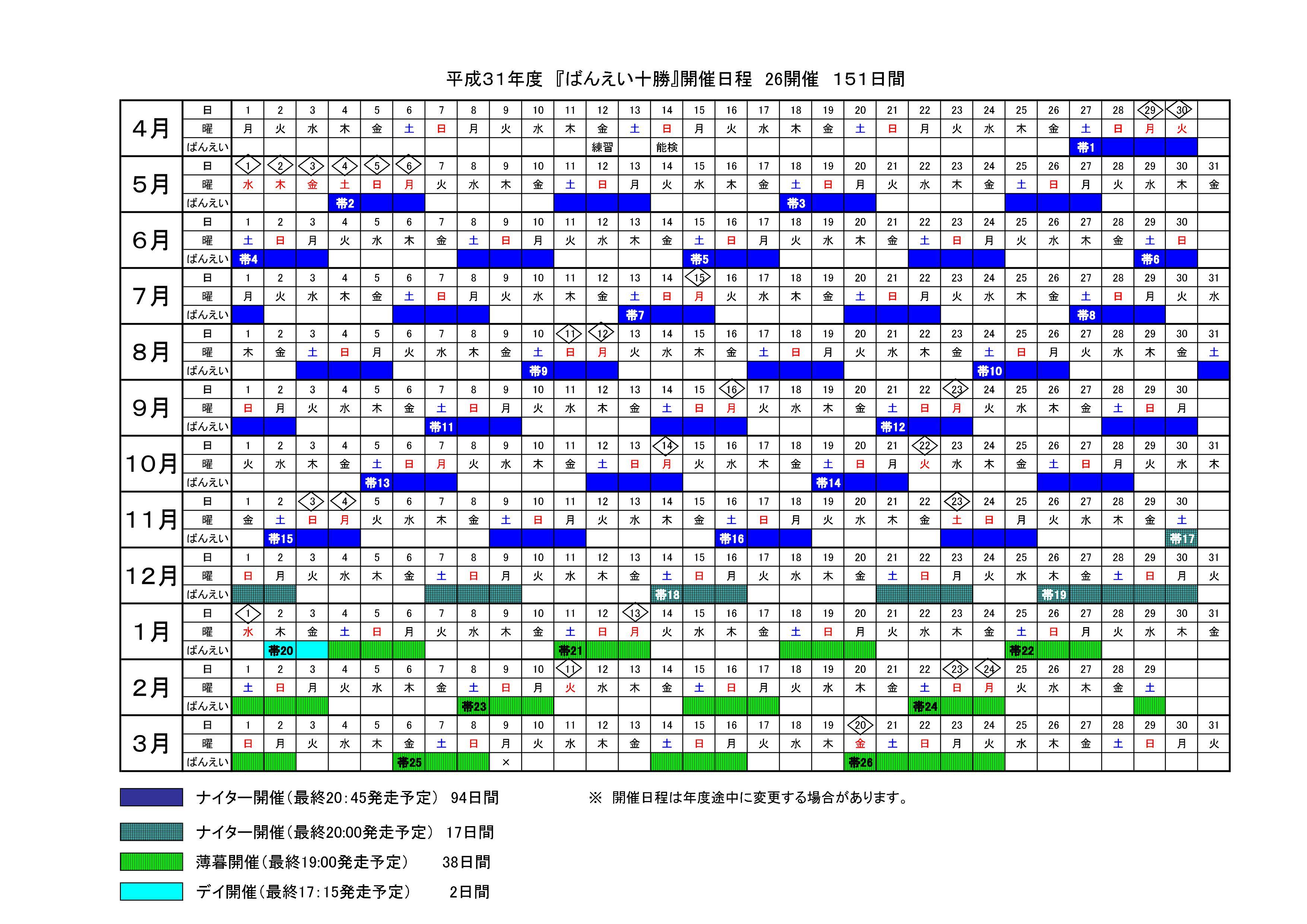年間開催日程